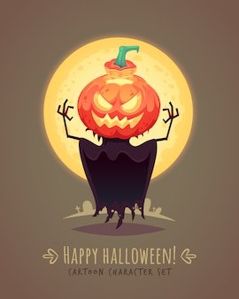 Jack o lantern. scarecrow pumpkin. halloween cartoon character concept.  illustration.