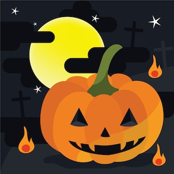 Jack-O-Lantern with fire and the big moon on Halloween night