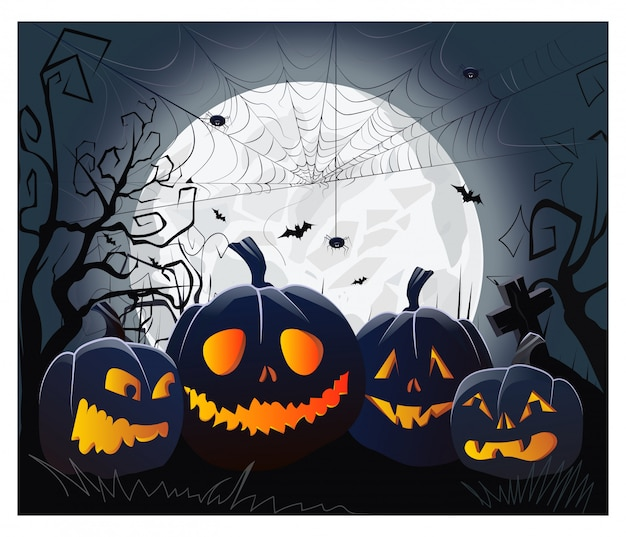 Jack o lanterns and cobweb with spiders against moonlight