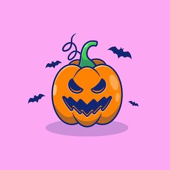 Jack olantern pumpkin vector illustration design with bat