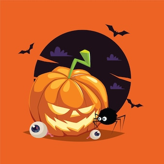 Jack olantern with spider cartoon illustration isolated on a yellow background