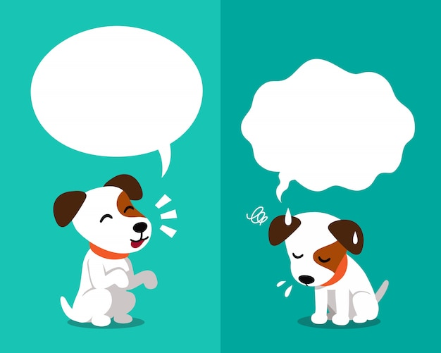 Jack russell terrier dog expressing different emotions with speech bubbles