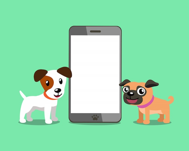 Jack russell terrier dog and pug dog with smartphone