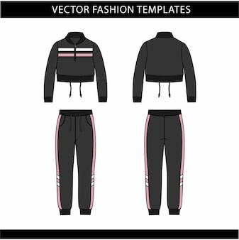 Куртка и брюки модный плоский шаблон эскиза, спортивная одежда спереди и сзади, спортивная одежда