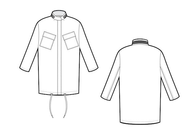Дизайн куртки спортивная одежда oversize куртка вид спереди и сзади