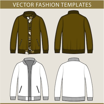 Jacket fashion flat sketch template