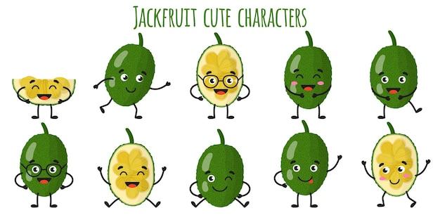 Jackfruit 과일 다른 포즈와 감정을 가진 귀여운 재미있는 쾌활한 캐릭터