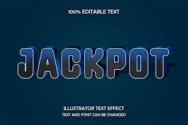 Jackpot,3d editable text effect modern blue metal style