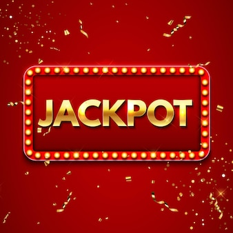 Jackpot background with falling gold confetti. casino or lottery advertising template. vector illustration eps10