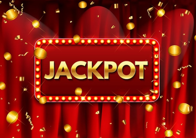 Jackpot background with falling gold confetti. casino or lottery advertising template. vector illustration