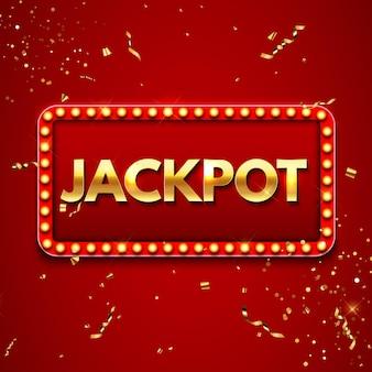 Фон джекпота с падающим золотым конфетти. шаблон рекламы казино или лотереи. векторная иллюстрация eps10
