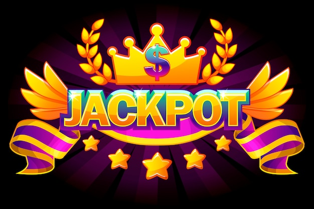 Jackpot banner. casino label with crown and violet award ribbon. casino jackpot winner awards with golden text and ribbon. objects on separate layers.