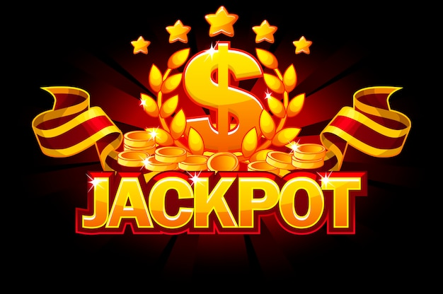 Jackpot banner with dollar sign and red ribbon. casino awards and coin.