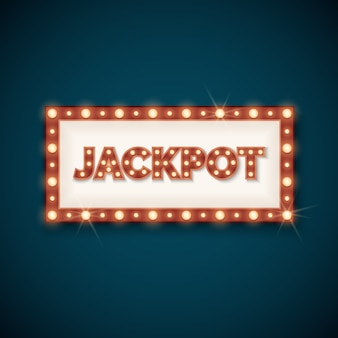 Jackpot banner with retro luminous frame vector illustration