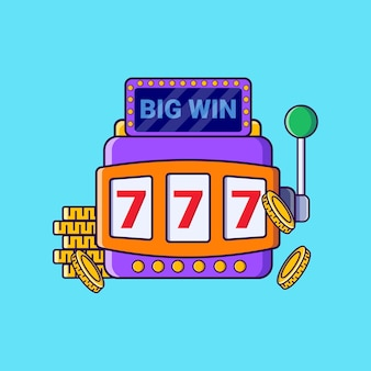 Jackpot casino machine flat vector illustration