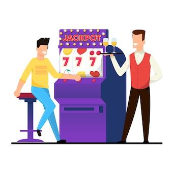 Jackpot on casino slot machine vector illustration