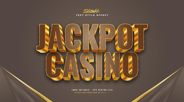 Jackpot casino text style in 3d brown and gold. editable text style effect