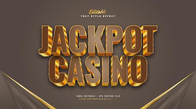 Стиль текста казино jackpot в 3d-коричневом и золотом цвете. редактируемый эффект стиля текста