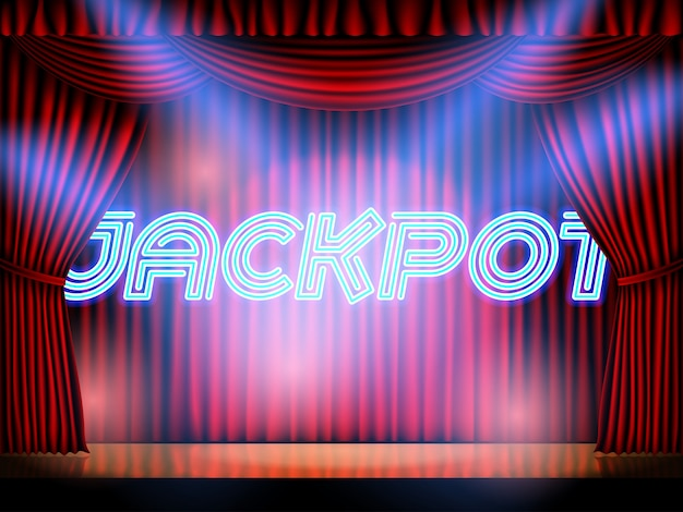 Jackpot casino win neon lettering live stage on background with red curtain
