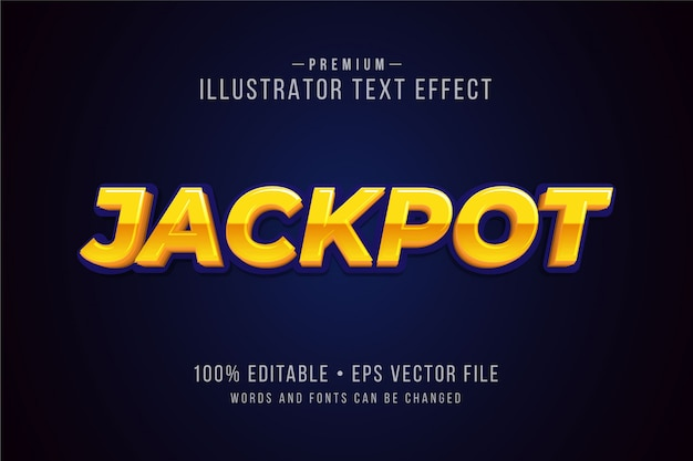 Jackpot editable 3d text effect or graphic style with metallic gradient