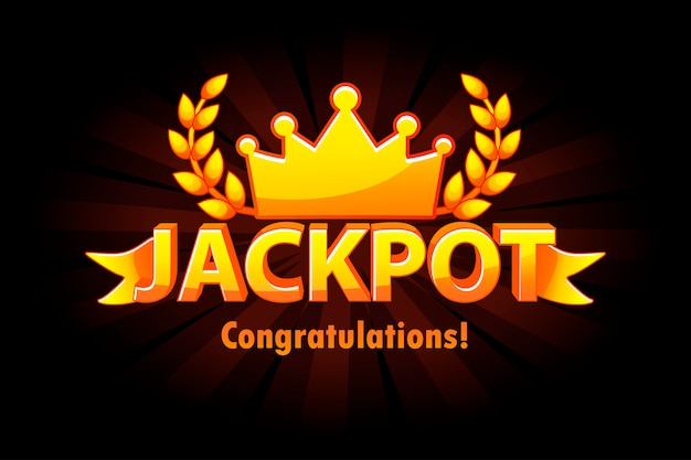 Jackpot gold casino lotto label with crown on black background. casino jackpot winner awards with golden text and ribbon. objects on separate layers.
