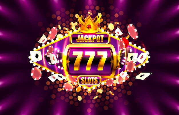 Jackpot king spins 777 banner casino on the purple background.