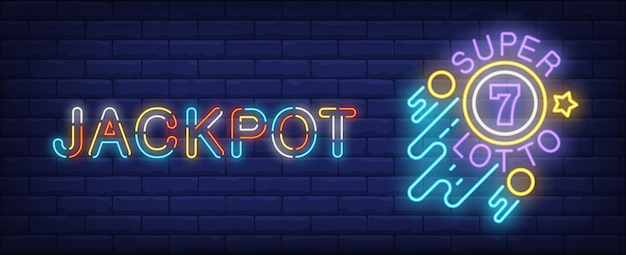 Jackpot neon sign. super lotto glowing sign on brick wall background.