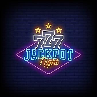Jackpot night neon signs style text .