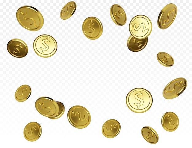 ジャックポットまたはカジノポーカーの勝利要素。透明な背景にリアルな金貨。現金の宝の概念。お金の落下または飛散。ベクトルイラスト