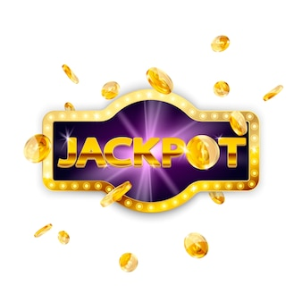 Jackpot retro sign decoration with falling coins isolated. vector