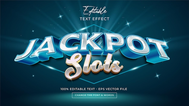 Jackpot slots editable text effect premium vector Premium Vector