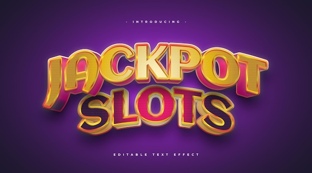 Jackpot text in casino game style with 3d and curved effect. editable text effect