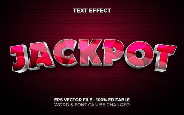 Jackpot text effect red silver style editable text effect curved theme