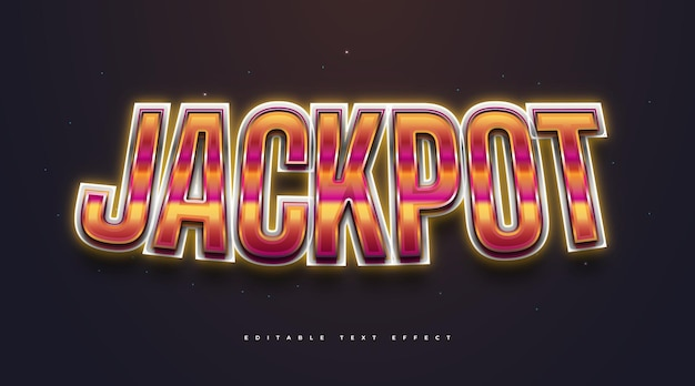 Jackpot text with colorful retro style and glowing neon effect. editable text style effect