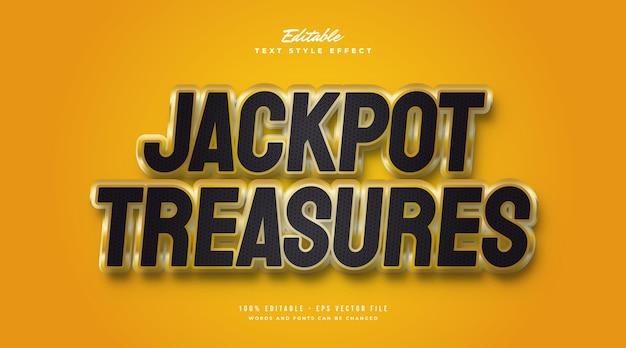 Стиль текста «сокровище джекпота» в черном и золотом цветах с 3d-эффектом. редактируемый эффект стиля текста