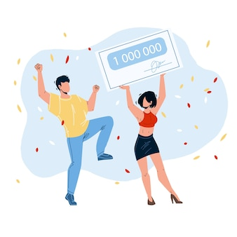 Jackpot win money lucky boy and girl couple vector. young man dancing and woman holding check, celebrating jackpot win. characters winning prize in gambling game flat cartoon illustration