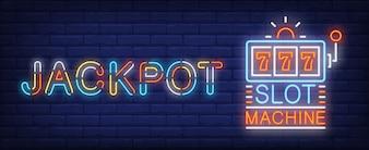 Jackpot winner neon sign. Triple sevens on slot machine on brick wall background.