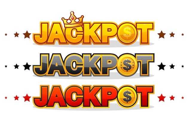 Джекпот выигрывает деньги символ победителя азартных игр, сияющий символ, изолированный на белом Premium векторы