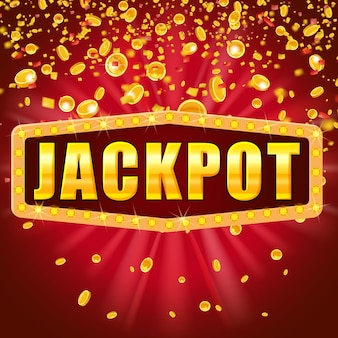 Jackpot word shining retro sign illuminated by spotlights falling coins and confetti. lottery casino