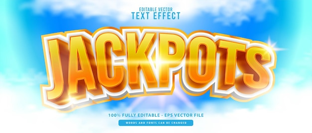 Jackpots, premium vector editable modern 3d white gold glowing style text effect, perfect for printing, food and beverage products or game titles.