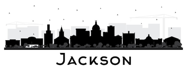 Jackson mississippi city skyline silhouette with black buildings isolated on white