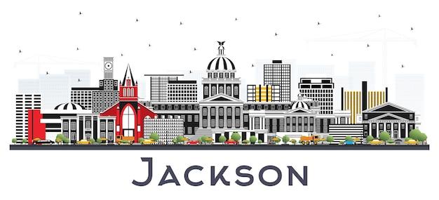 Горизонт города джексон миссисипи с серыми зданиями, изолированными на белом. векторные иллюстрации. деловые поездки и концепция туризма с исторической архитектурой. городской пейзаж джексона сша с достопримечательностями.
