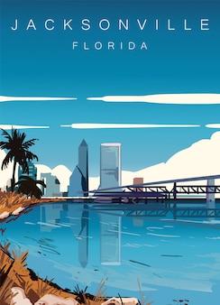 フロリダ州ジャクソンビルの風景ポスター。