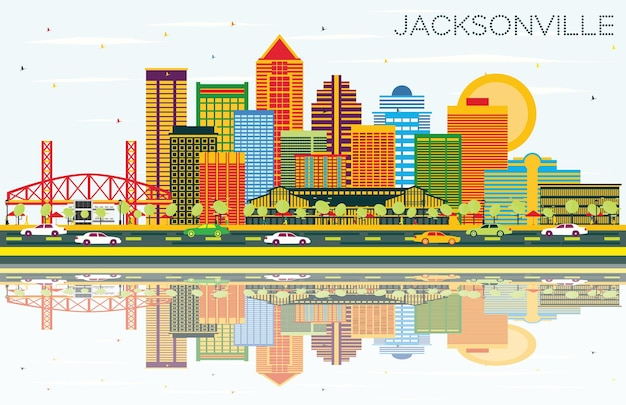 Jacksonville florida skyline with color buildings, blue sky and reflections. vector illustration. business travel and tourism concept with modern architecture. jacksonville cityscape with landmarks.