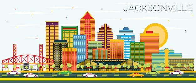 Jacksonville florida skyline with color buildings and blue sky. vector illustration. business travel and tourism concept with modern architecture. jacksonville cityscape with landmarks.