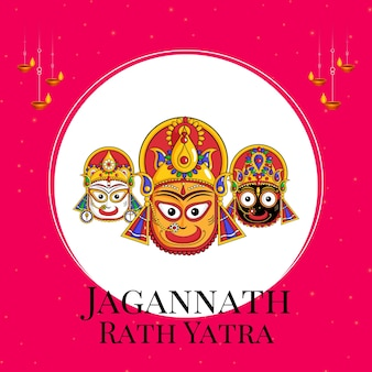 Jagannath rath yatra フラット バナー デザイン