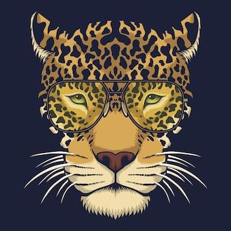 Jaguar head eyeglasses  illustration