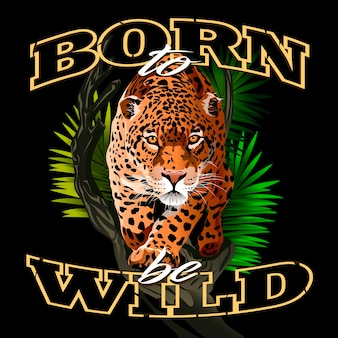 Jaguar in the jungle fierce staring leopard born to be wild illustration of many colors big cat