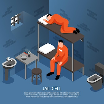 Интерьер тюремной камеры с металлическими прутьями изометрической иллюстрации