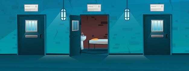Тюремный коридор с пустыми клетками в мультяшном стиле.